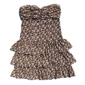 Express Brown floral tiered ruffle strapless dress